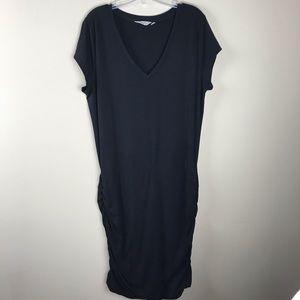 Athleta Topanga V-neck T-shirt Dress Black Size XL
